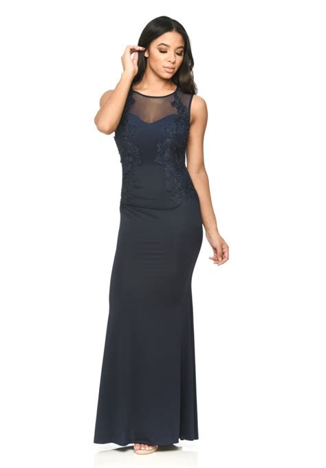 Floor Length Lace Dress by Navy Floor Length Fitted Dress With Lace Detail