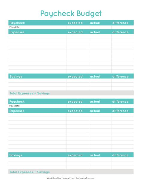 Free Budgeting Worksheets The Hayley Fiser Blog Paycheck Planner Template