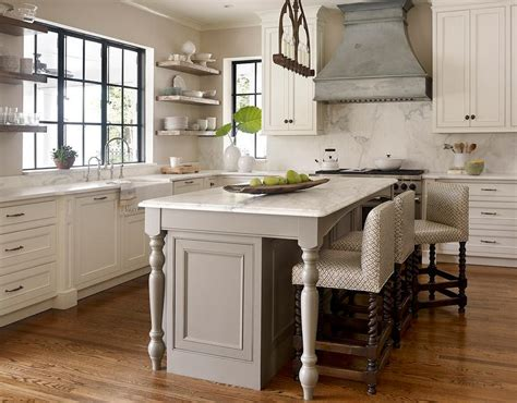 Gray Kitchen Island With Turned Legs Transitional Kitchen