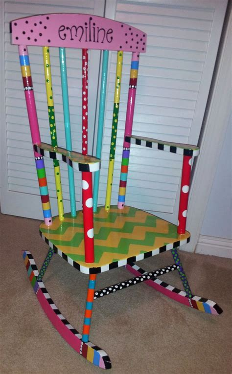 Handcrafted and painted child s rocking chair