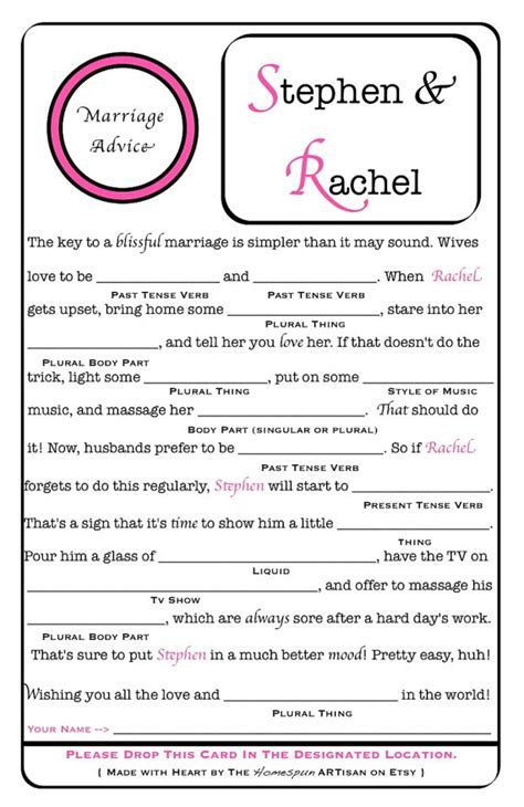 15 Mad Libs for your Wedding ? BestBride101