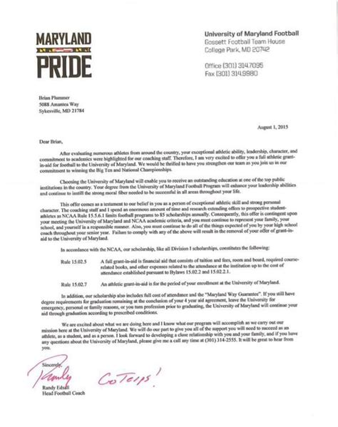 Basketball Scholarship Letter What Scholarship Offer Letter Looks Like Black Gold