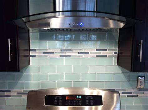 Glass Kitchen Backsplash Glass Subway Tile Backsplash With Glass Mosaic Inlay Yelp