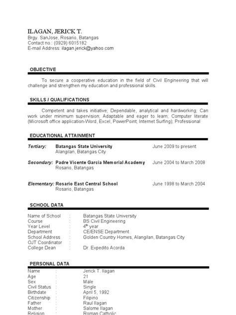 sle resume for ojt architecture student ojt resume of batangas state students