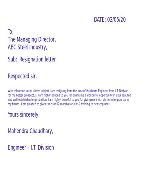 Resignation Letter Format Engineer 36 Resignation Letter Template In Doc Free Premium Templates