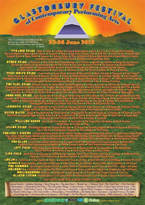 glastonbury festival line ups wikipedia the free the full glastonbury festival 2016 line up has landed