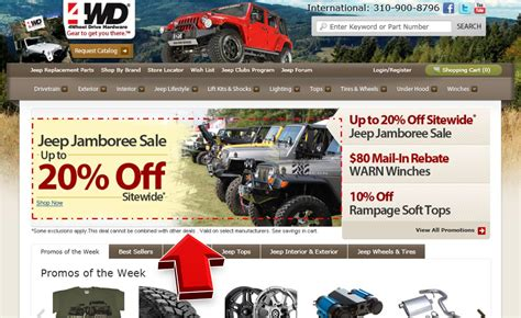 4wd jeep jamboree sale up to 20 coupon code