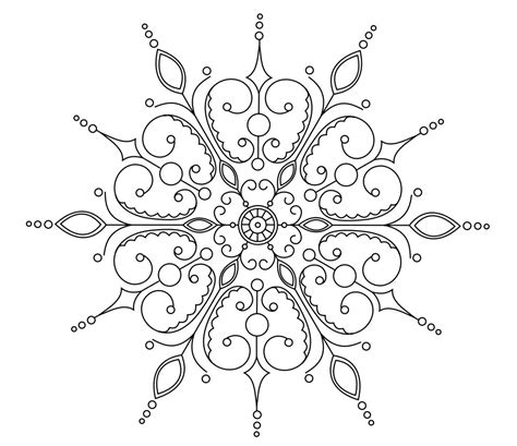 snowflake mandala coloring pages printables omazing