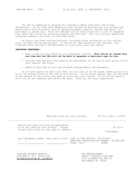 Ein Verification Letter Irs duplicate ss4 letter docoments ojazlink