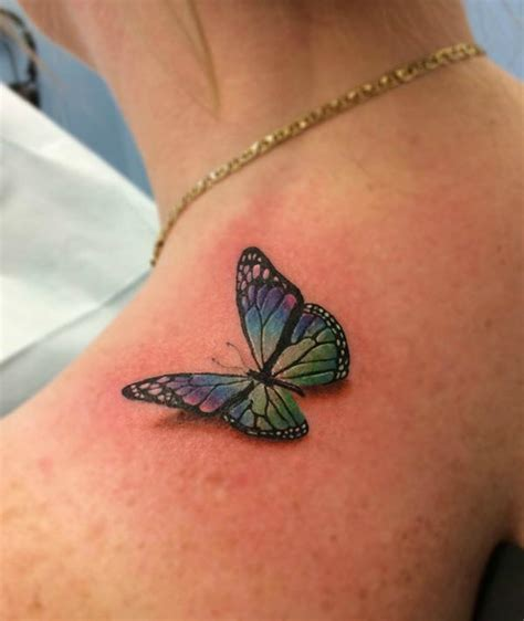 butterfly tattoo on girl s shoulder 3d butterfly tattoo on girls shoulder