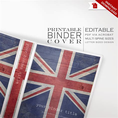 editable binder cover templates personalized binder cover printable editable britain uk