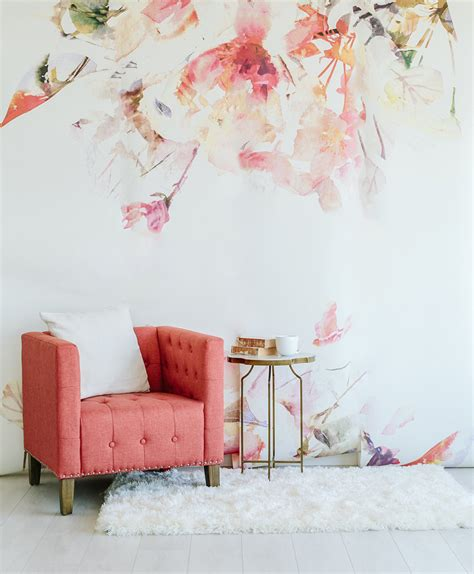 wallpaper for tall walls spring floral large wall mural watercolor wallpaper