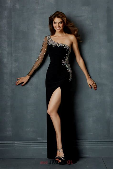 black prom dresses with one sleeves Naf Dresses