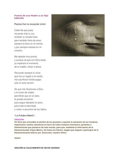 poema de una madre a un hijo fallecido reflexiones de poema de una madre a un hijo fallecido