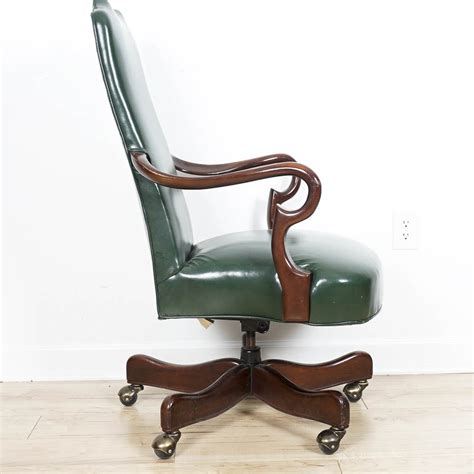 rolling armchair cabot wrenn emerald leather rolling armchair ebth