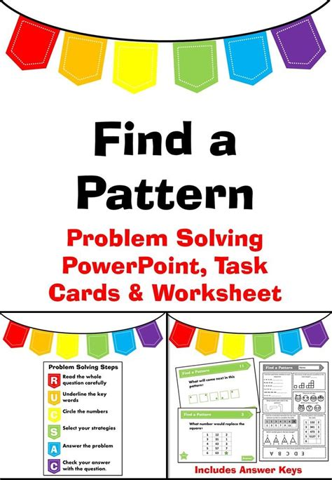 pattern problem solving year 1 find a pattern problem solving powerpoint task cards and