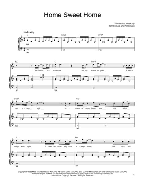 sweethome sheets download home sweet home sheet music by motley crue sku