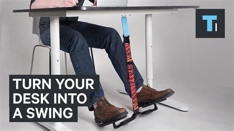 standing desk with foot swing this attachment turns your desk into a swing