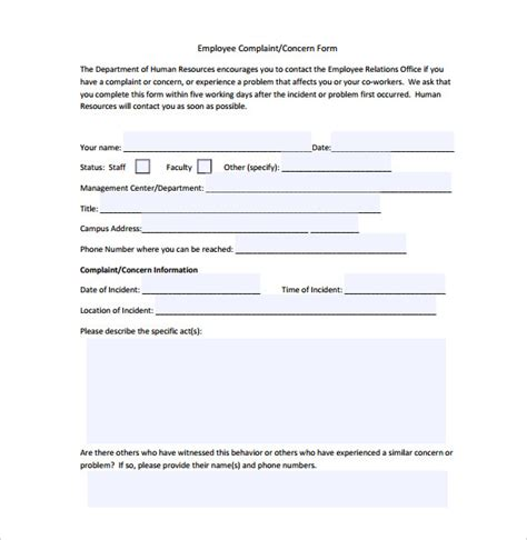 hr forms and templates 23 hr complaint forms free sle exle format