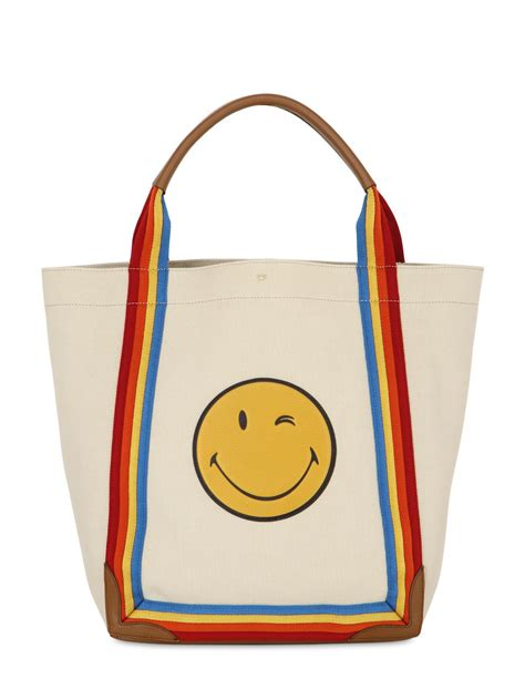 anya hindmarch smiley canvas tote with leather beige in
