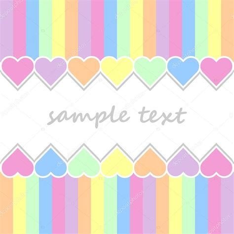 baby colors baby postcard background with two lines of hearts and