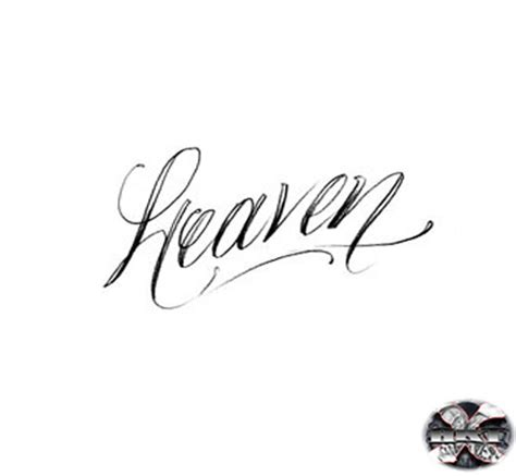 cursive word heaven tattoos sketch coloring page