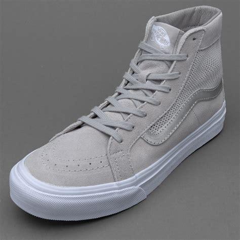 Sepatu Vans High sepatu sneakers vans womens sk8 hi slim suede silver cloud