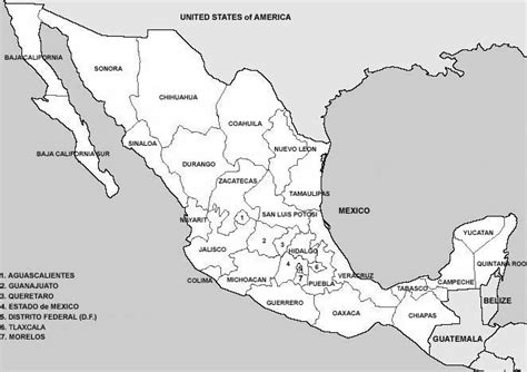map of mexico printable black and white physical map of mexico