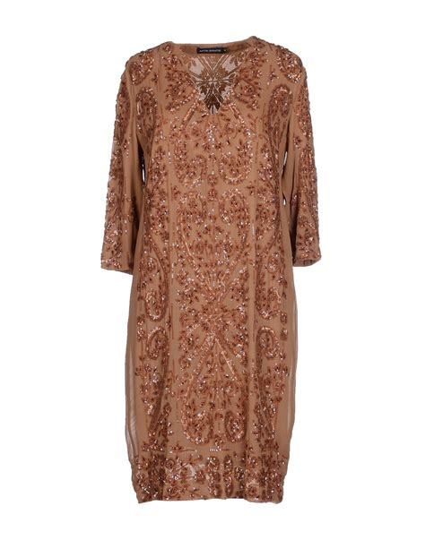 Sgort Batik antik batik dress in brown camel lyst