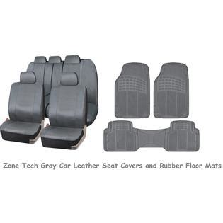 zone tech gray car rubber floor mats universal leather car seat covers set