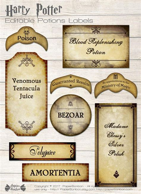 printable harry potter name tags harry potter editable potions labels printable wizard tags