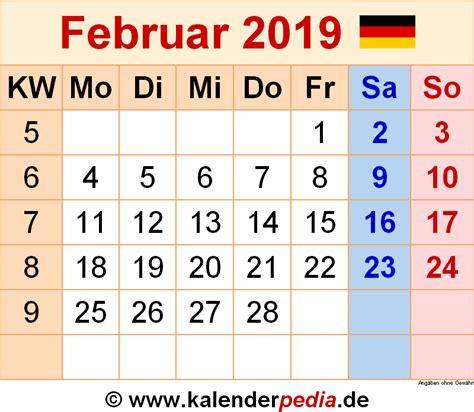 kalender februar  als word vorlagen