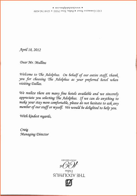 4 Hotel Notice Sle Notice Letter Welcome Letter Template