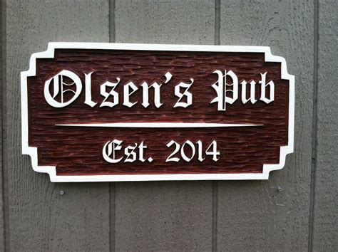 bar sign personalized old english bar pub sign custom carved