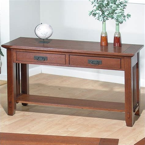 Mission Oak Sofa Table by Jofran Sofa Table In Viejo Brown Mission Oak Finish