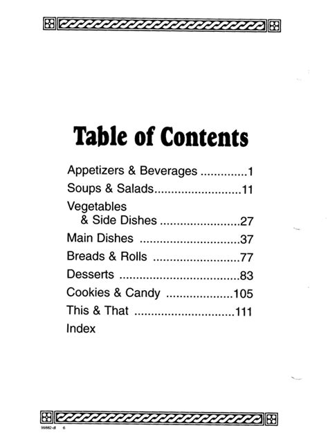 cookbook table of contents cookbook sections free printable table contents template