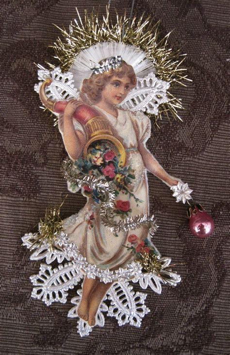 victorian angel scrap dresden christmas ornaments