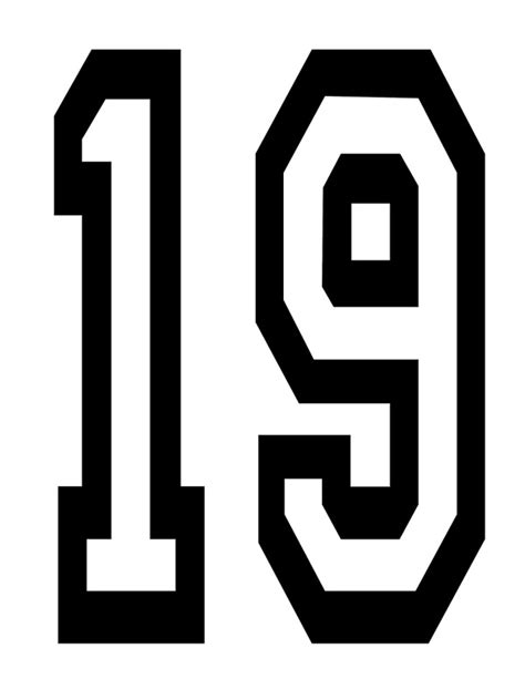 Kids Bedroom Wall Stickers quot 19 team sports number 19 nineteen nineteenth