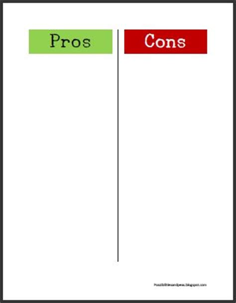 pro con list template 7 best images of pros and cons chart globalization pros