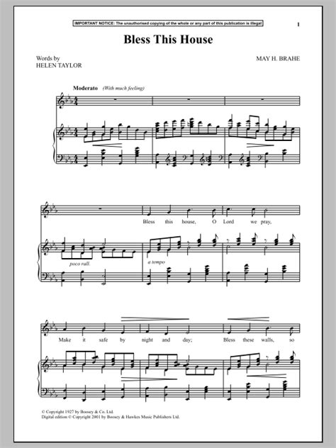 bless this house lyrics and music bless this house sheet music direct