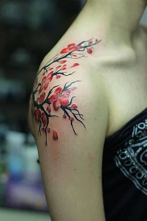 beautiful shoulder tattoos for 53 beautiful cherry blossoms shoulder tattoos