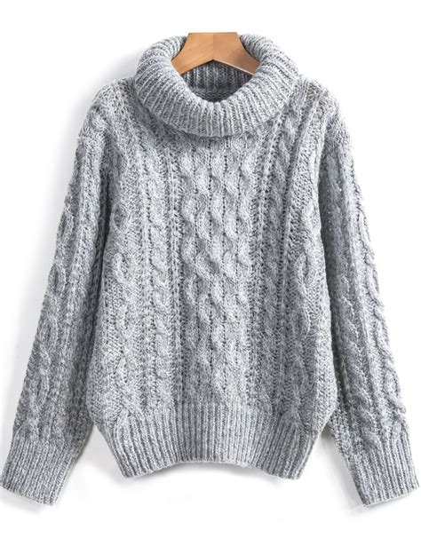 High Neck Cable Knit Sweater grey high neck cable knit sweater shein sheinside