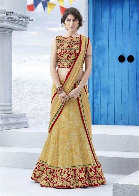 Lehenga Exclusive India 05 gold designer bridal lehenga choli w semi stitch blouse desiclik usa