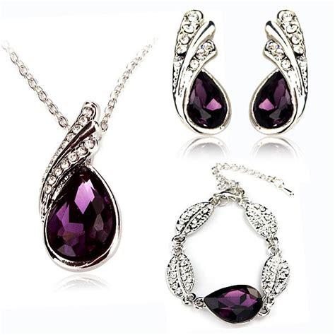 Teardrop Necklace Set teardrop necklace earrings bracelet jewelry set