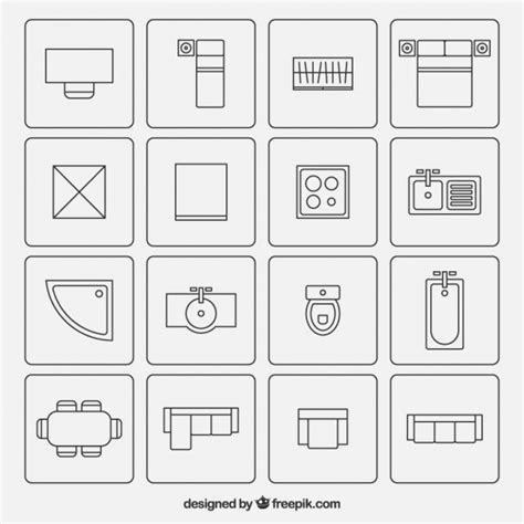 furniture icons for floor plans furniture symbols used in architecture plans vector free