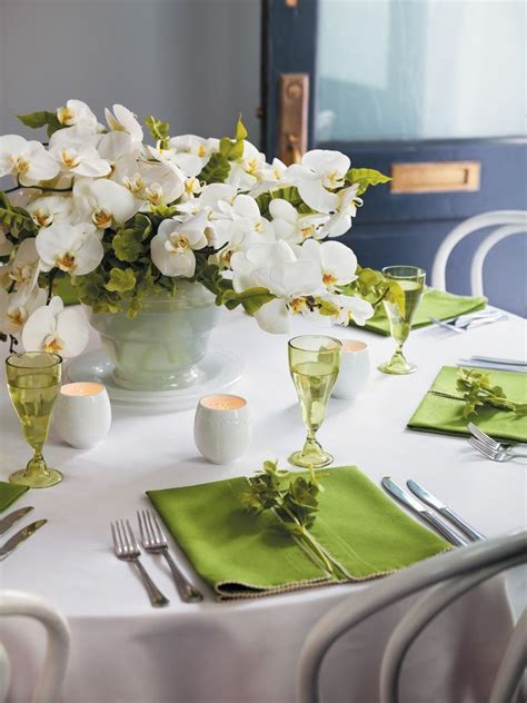 lush orchid centerpiece beautiful green and white