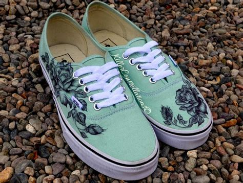 design vans com custom hand drawn sharpie rose design from