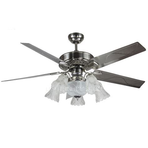 silver ceiling fan with light prepossessing 5 blade and 6