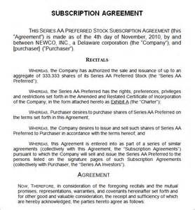 Subscription Agreement Template doc 460595 subscription agreement template stock