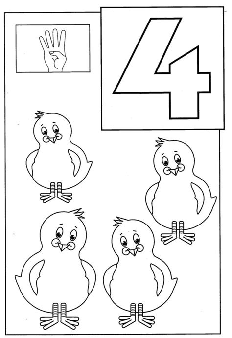 Number 4 Coloring Page Printable by Get This Number 4 Coloring Page 4514a